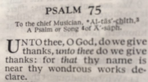Words to Psalm 75